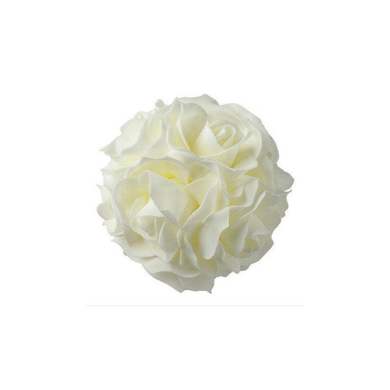 Boule de rose mousse blancje - 12,5 cm