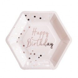 "Assiettes ""Happy Birthday"" confettis (x8)"