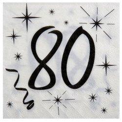 Serviettes 80 ans - x 20 unités