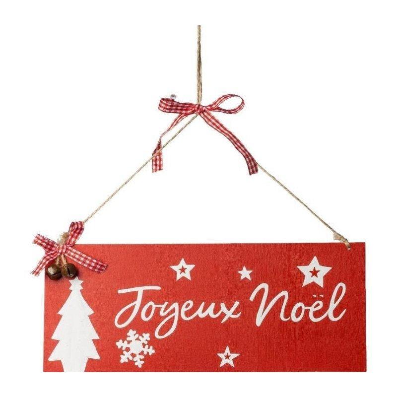 "Pancarte ""Joyeux Noël"" Ruban Vichy et clochettes"