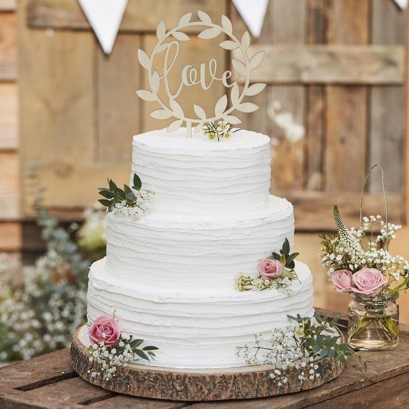 """Cake Topper """"Love"""" Bois 15 cm"""