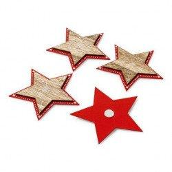 Étoiles bois adhésives rouges à pois (x4)