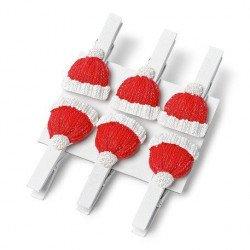 6 petites pinces bonnet Noël