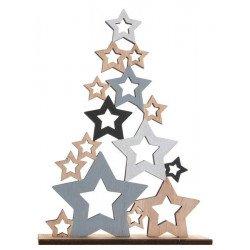 Grand sapin de Noël en bois étoilé