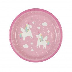 8 Assiettes Licorne Rose