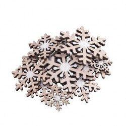 Jolis flocons en bois & paillettes blanches (x12)