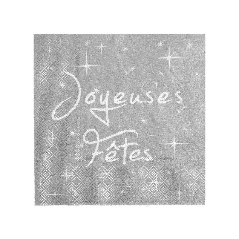 """20 Serviettes """"Joyeuses Fêtes"""" Argent"""