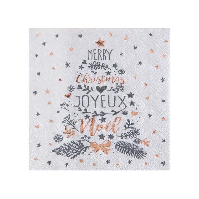20 Serviettes Noël Coeurs & Etoiles