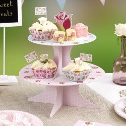support à gâteaux rose vintage