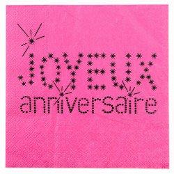 20 serviettes Joyeux Anniversaire - Fuchsia