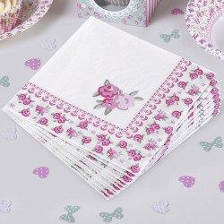 16 serviettes Shabby fleuri