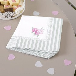 20 serviettes cocktail Shabby fleuri
