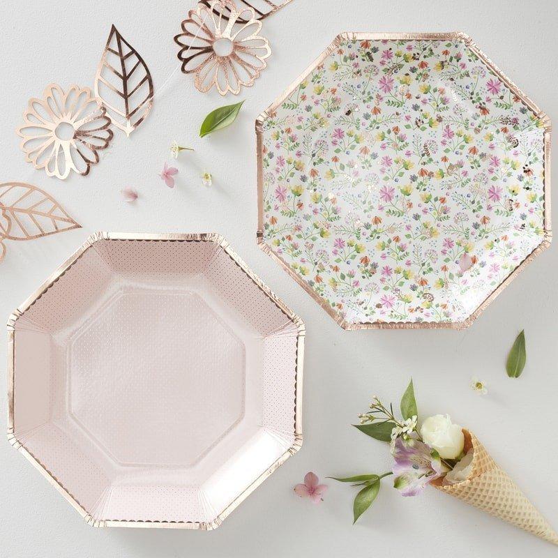 8 Assiettes à fleurs & Or rose