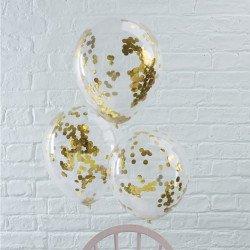 Ballons confettis glitter- 5 unites