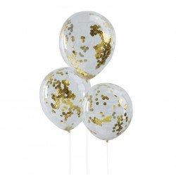 Ballons transparents confettis glitter or (x5)