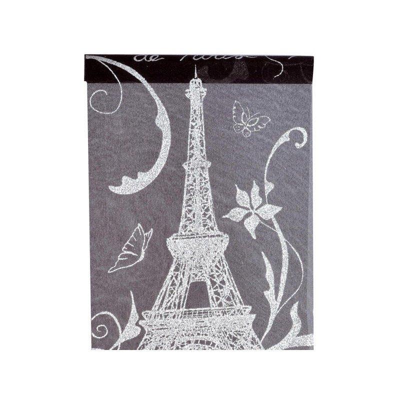 Chemin de table noir & argent Paris 5 mètres
