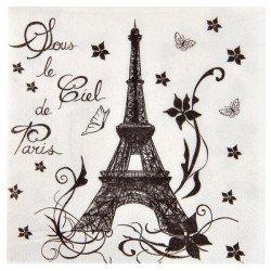 20 serviettes noir et blanc Paris