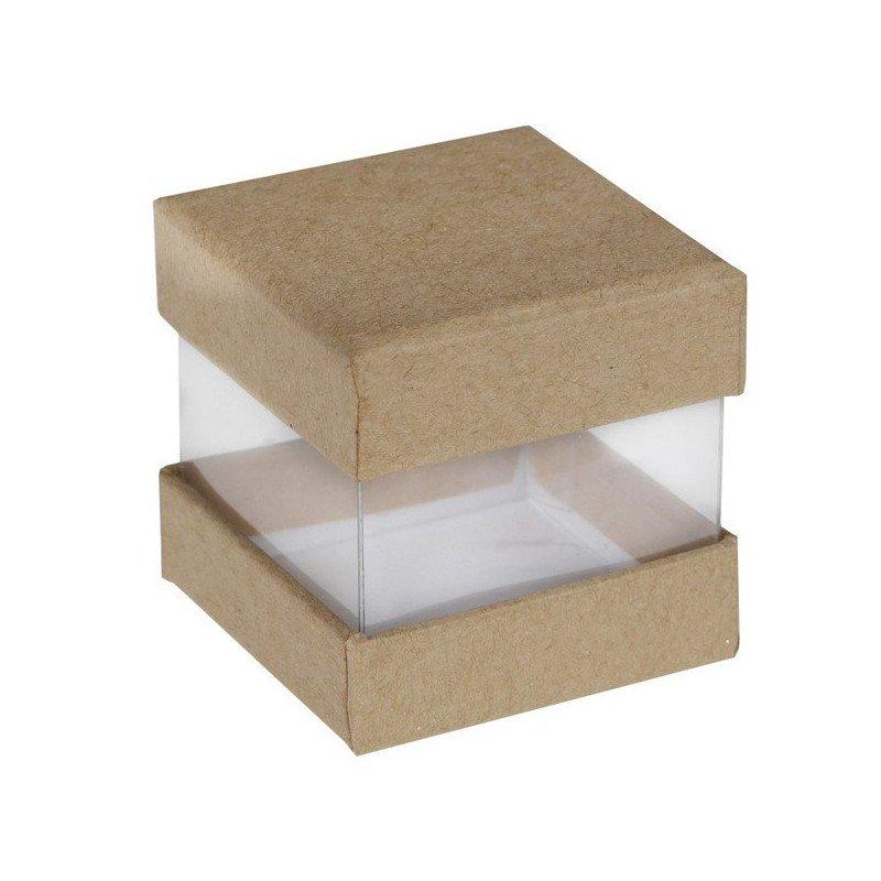 Boîte cadeaux invités en forme de cube kraft (x6)