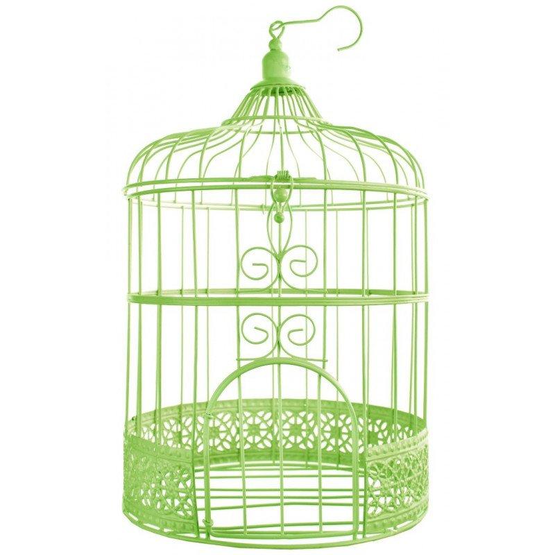 Tirelire cage à oiseaux verte