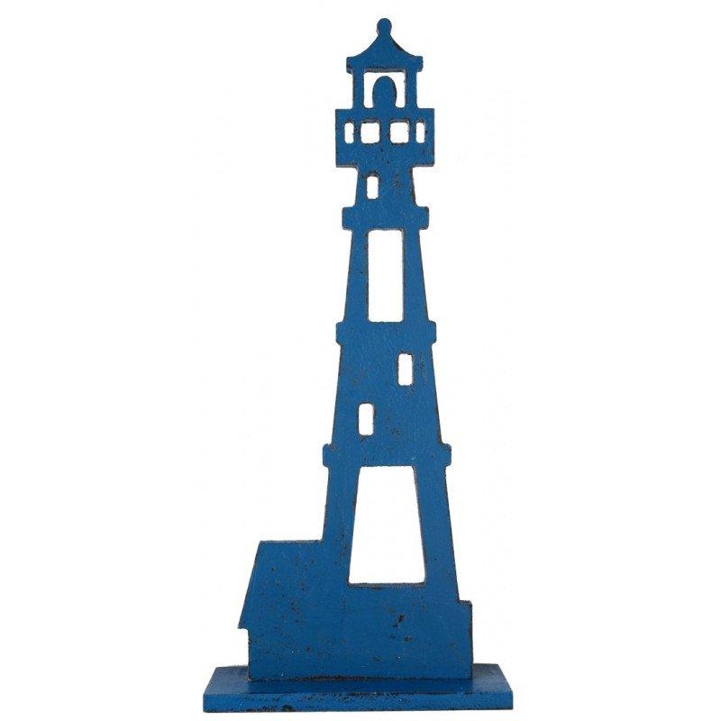 Grand phare en bois bleu