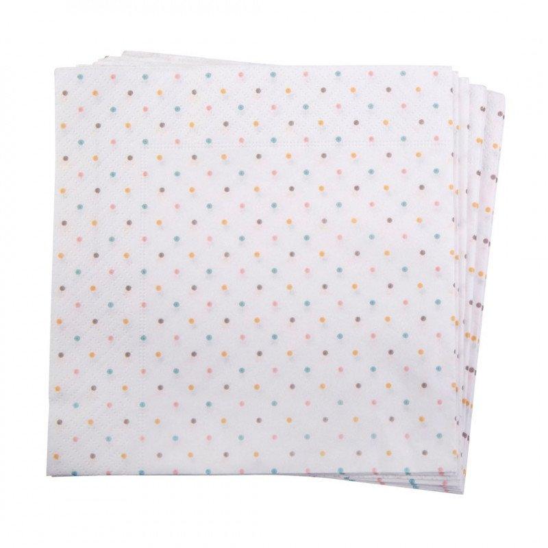 20 serviettes pois pastel
