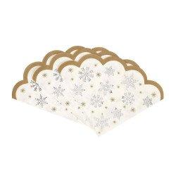 Serviettes festonnées Flocons de neige (x16)
