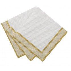 20 petites serviettes blanches et dorées