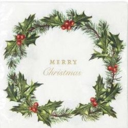 "20 Serviettes Houx ""Merry Christmas"""