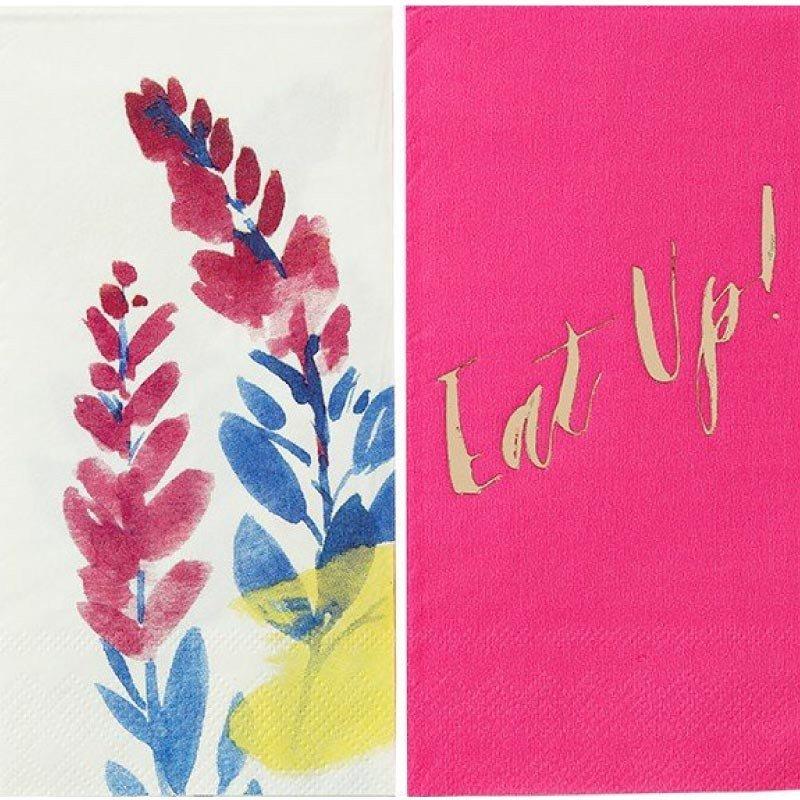 Serviettes fleuries fluo -par 20