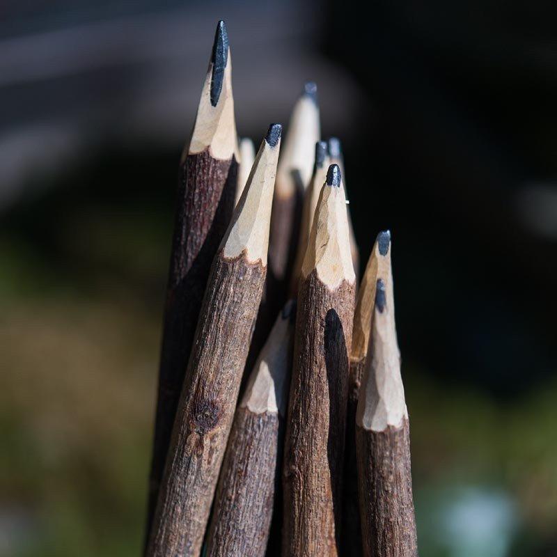Crayons à papier en bois rustiques -5 unités