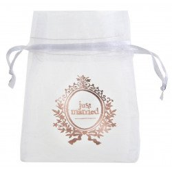 "Sachets blanc à dragées ""Just Married"" rose gold (x6)"