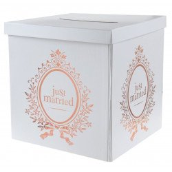 "Urne/Tirelire ""Just Married"" rose gold"