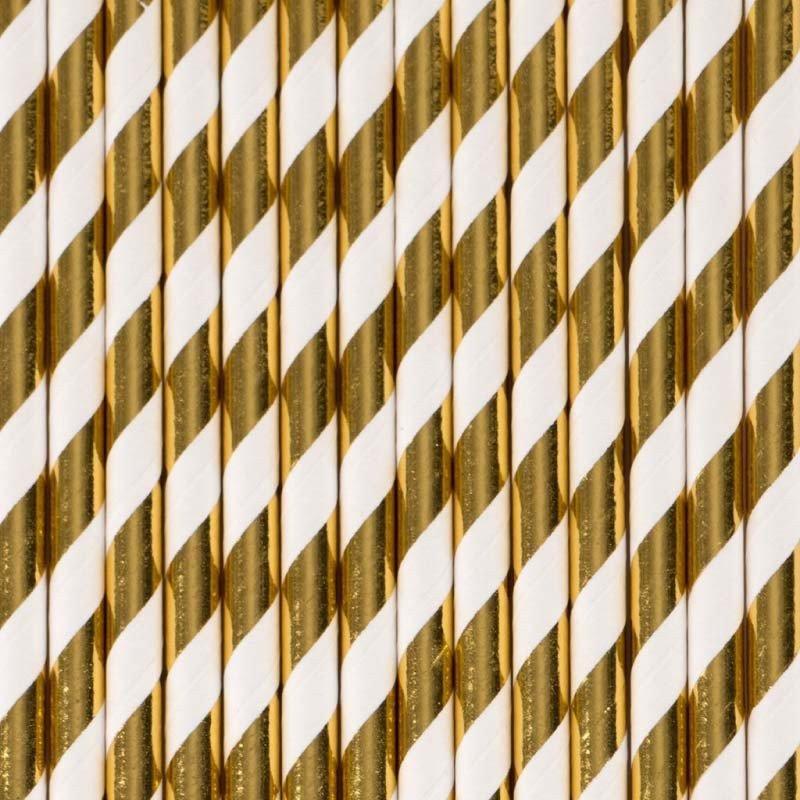 """Pailles rayées or """"brillant"""" 25 pailles"""