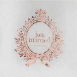 "20 Serviettes ""Just Married"" rose gold"