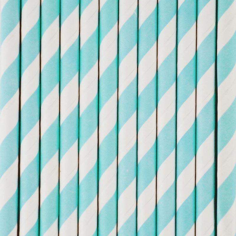 Paille rayures bleues claires -25 unités