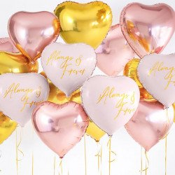 Amas de grand ballon mylar coeur rose gold, or et blanc