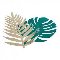 Feuilles tropicales vertes et dorées (x6)