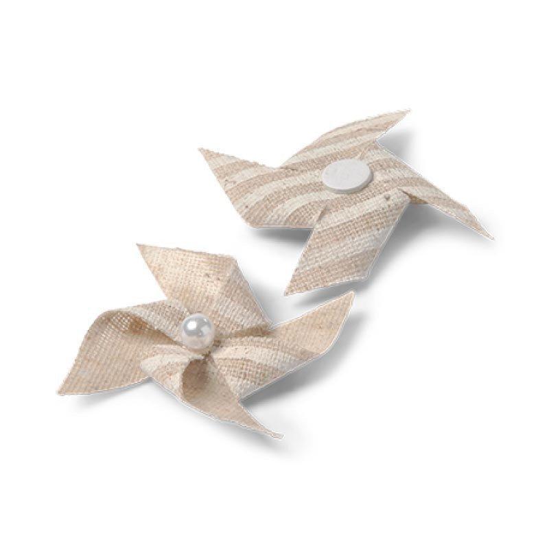 mini moulins adhésifs en lin rayures blanches (x4)