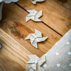 4 mini moulins adhésifs en lin rayures blanches