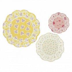 Napperons colorés rose blanc et jaune (x24)