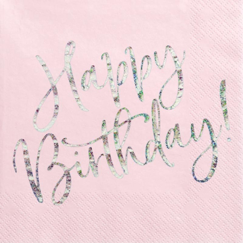 20 serveietes rose poudré Happy Birthday