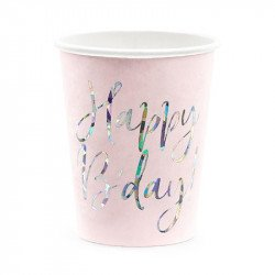 6 Gobelets rose poudré Happy Birthday