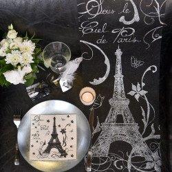 Chemin de table noir & argent Paris
