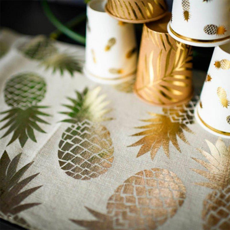 Chemin de table lin ananas  champagne
