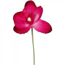 Orchidées tissu avec tige (x6) - Fuchsia