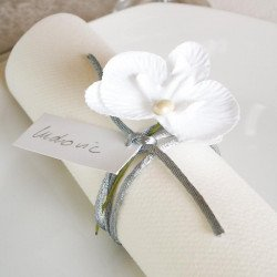 6 orchidées tissu avec tige