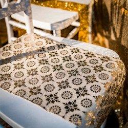 Chemin de table Boho en lin floqué doré
