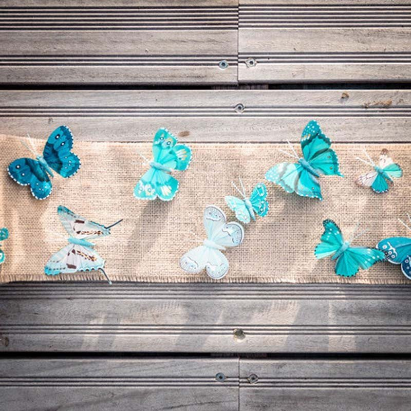 10 Jolis papillons degradé de marsala  ou bleu 5 et 8 cm