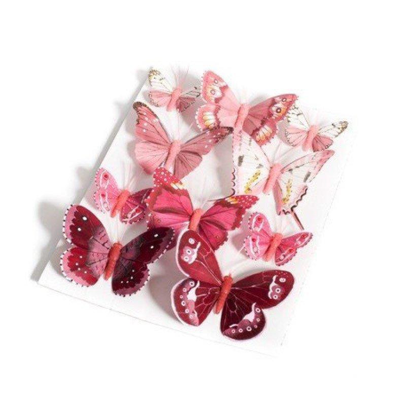 Papillons degradé de rouge framboise 5 et 8 cm (x10