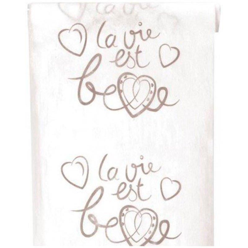 """Chemin de table """"la vie est belle"""" blanc 5 mètres"""